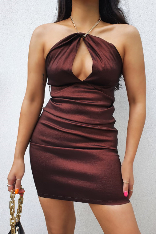 Chocolate Bodycon Taffeta Mini Dress with Chain Halter