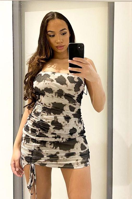Stone-Black Print Mesh Ruched Mini Dress