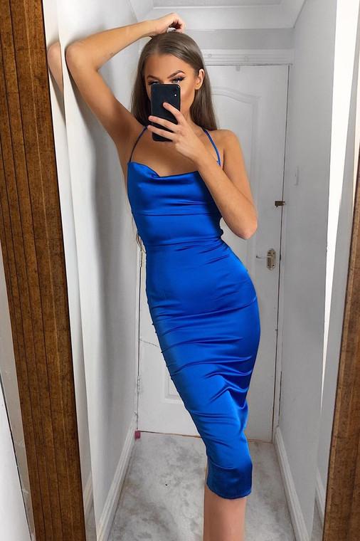Cobalt Cowl Neck Satin Midi Dress