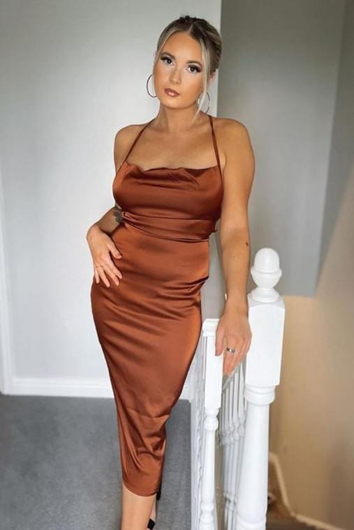 Chocolate Cowl Neck Satin Midi Dress