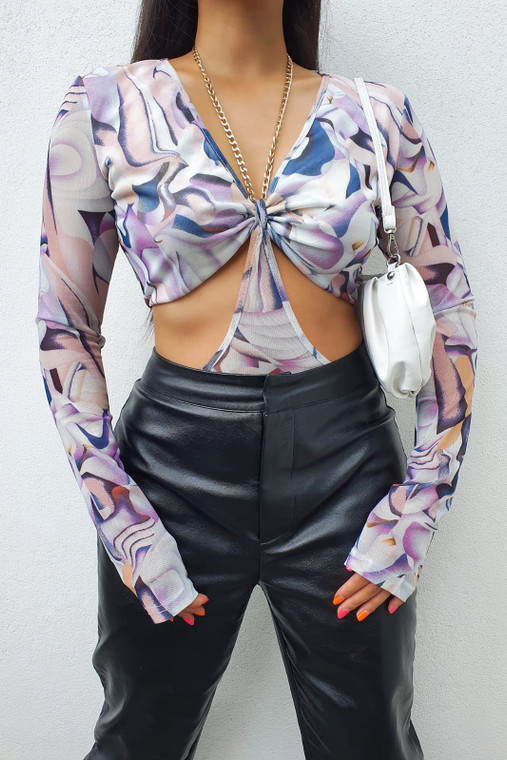 Blue-Purple Printed Longsleeve Cut-Out Bodysuit with Chain Detailing