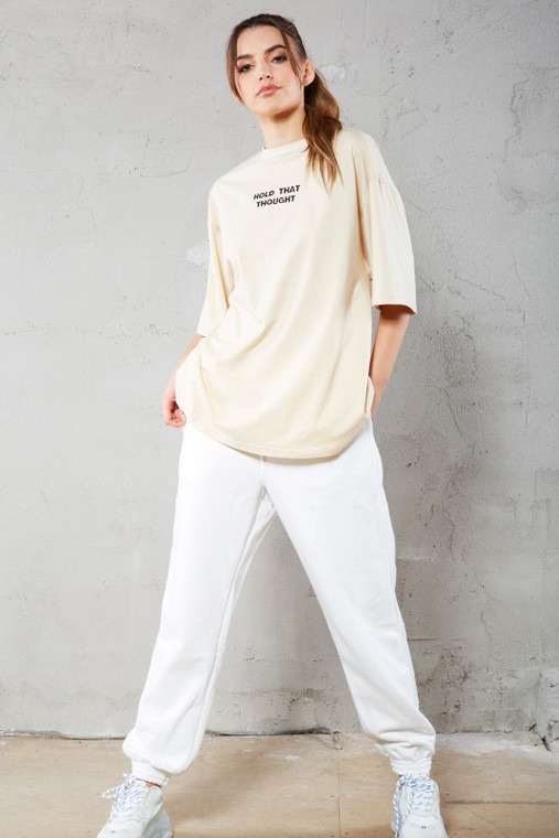 Nude Premium 'Hold That Thought' Slogan Oversized T-Shirt