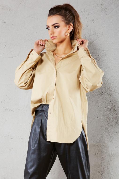 Caramel Oversized Premium Cotton Shirt