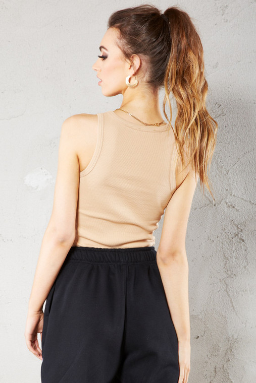 Nude Ribbed Vest Top