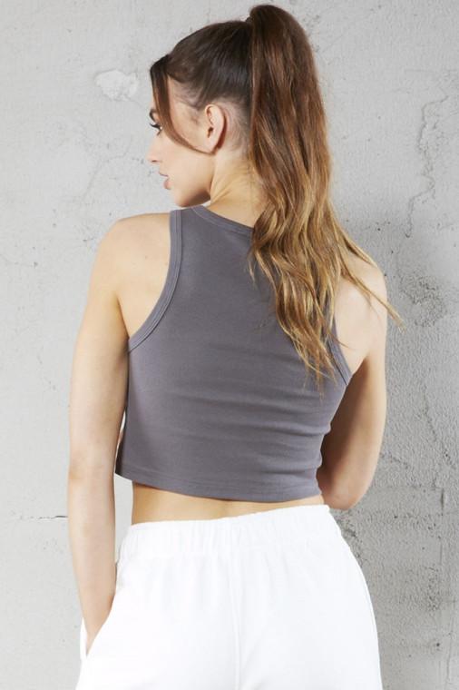 Slate Grey Cropped Ribbed Vest Top