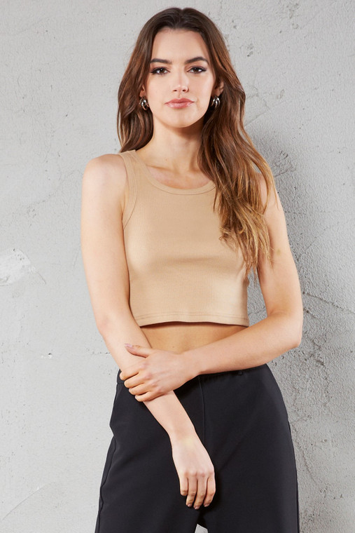 Nude Cropped Ribbed Vest Top