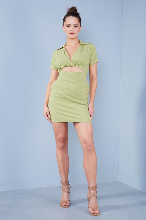 Sage Green Linen Wrap Mini Dress