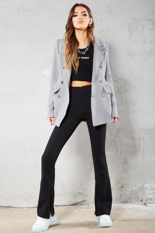Black Skinny Split Leg Trouser With Zip