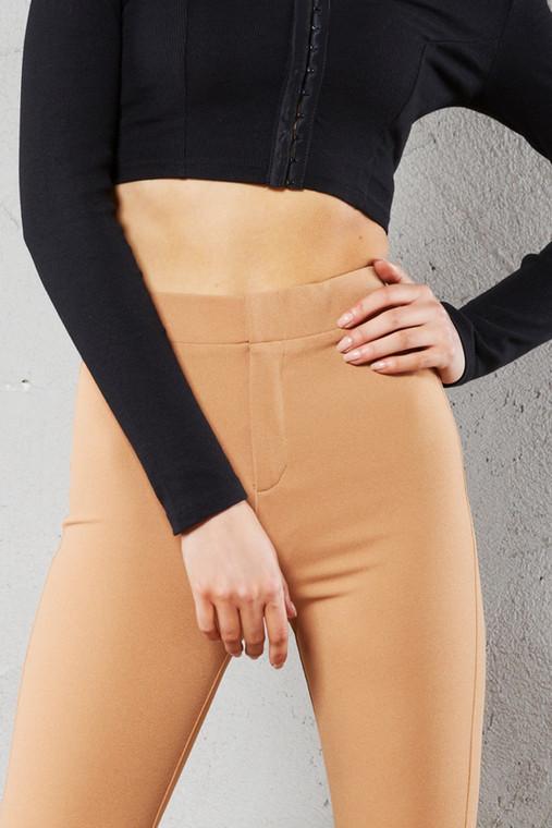 Caramel Latte Skinny Split Leg Trouser With Zip