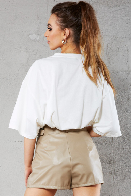 Caramel Latte Leather Look Belted Shorts