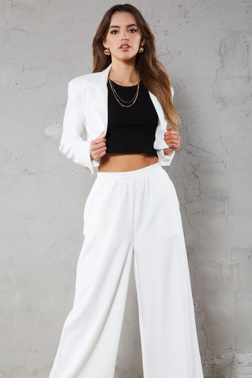 White Elasticated Waist Wide Leg Trouser