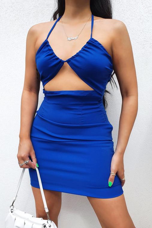 Cobalt Cut-Out Halter Strap Stretch Mini Dress