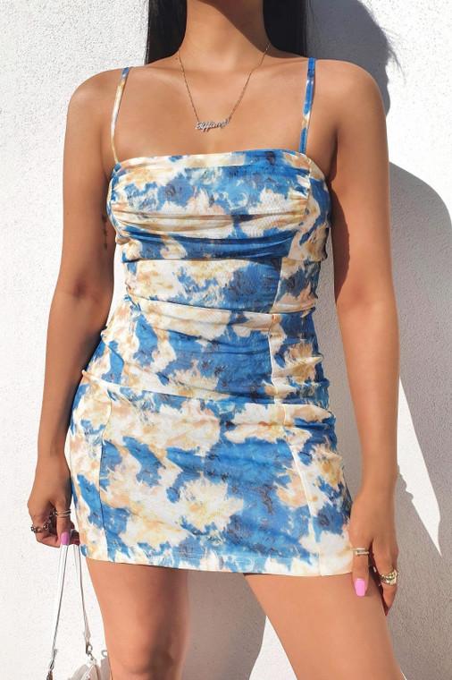 Blue Tie Dye Print Mesh Strappy Mini Dress