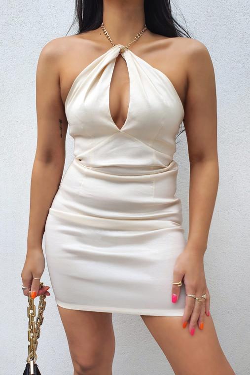 Off White Bodycon Taffeta Mini Dress with Chain Halter