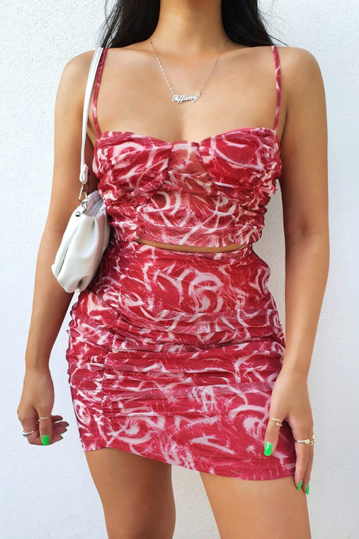 Red Print Strappy Ruched Mesh Top and Mini Skirt Co-Ord