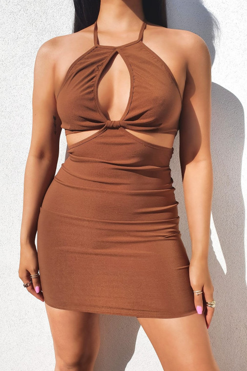 Chocolate Halter-Neck Stretch Mini Dress with Cut-Outs