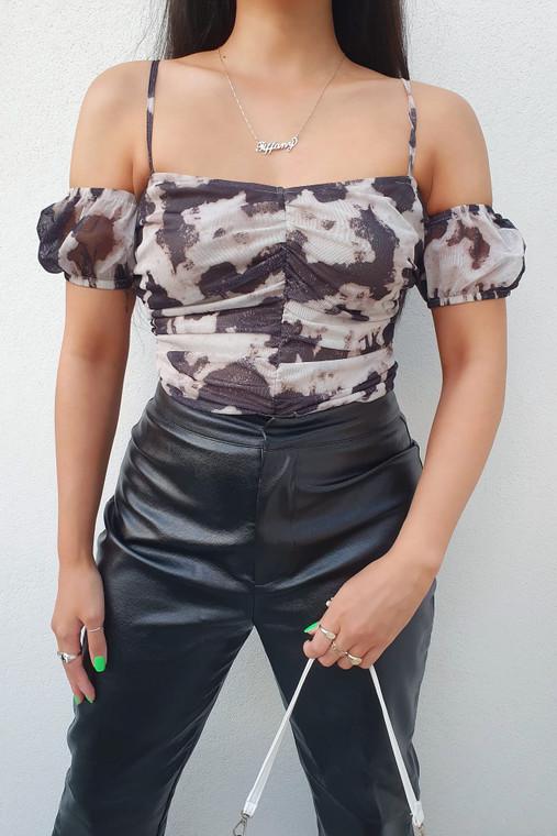 Stone-Black Print Cold Shoulder Bardot Strappy Ruched Mesh Bodysuit