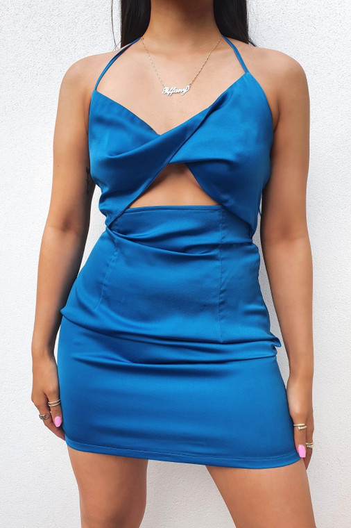 Blue Satin Halterneck Mini Dress with Twist Front and Cut Out