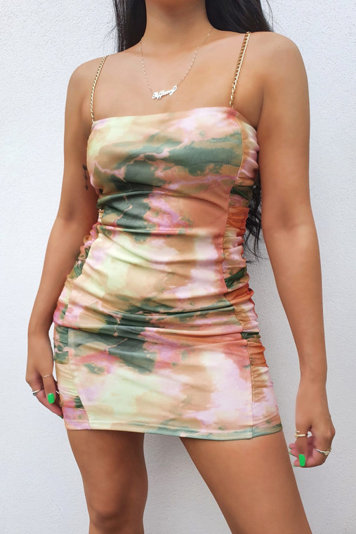 Gold Multi Print Chain Strap Mesh Mini Dress with Ruched Sides
