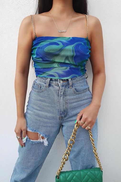 Blue Green Print Chain Strap Mesh Bodysuit