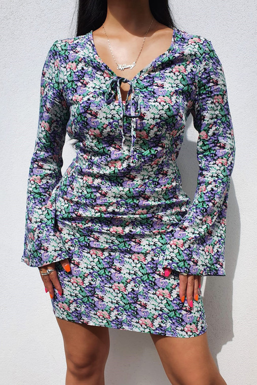Black-Lilac Floral Print Bell Sleeve Mini Dress