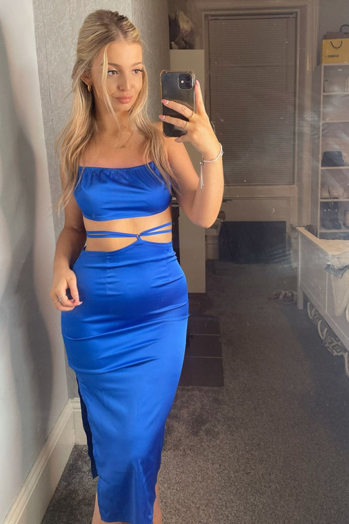 Cobalt Strappy Satin Extreme Cut-Out Midi Dress