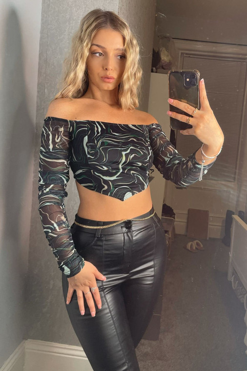Black Swirl Print Longlseeve Bardot Mesh Top with Ruched Arms