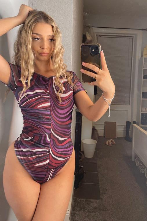 Purple Swirl Print Shortsleeve Mesh Bodysuit with Asymmetric Ruching