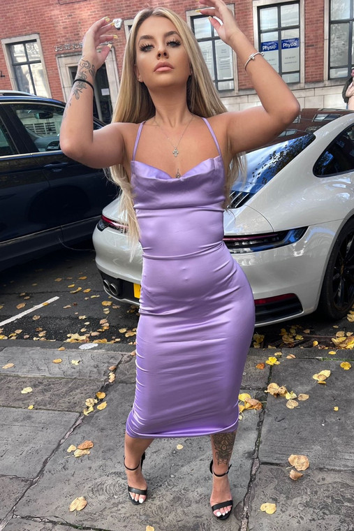 New Lilac Cowl Neck Satin Midi Dress