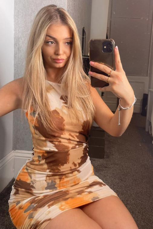 Brown Multi Print Racer Cut Mesh Mini Dress with Drawstring Ruching
