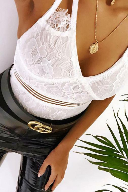 White Eyelash Lace Bodysuit