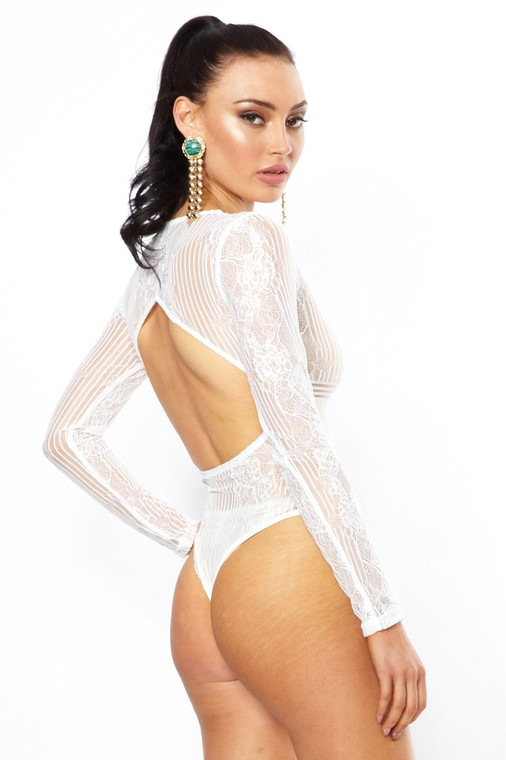 White Lace Plunge Neck LS Bodysuit