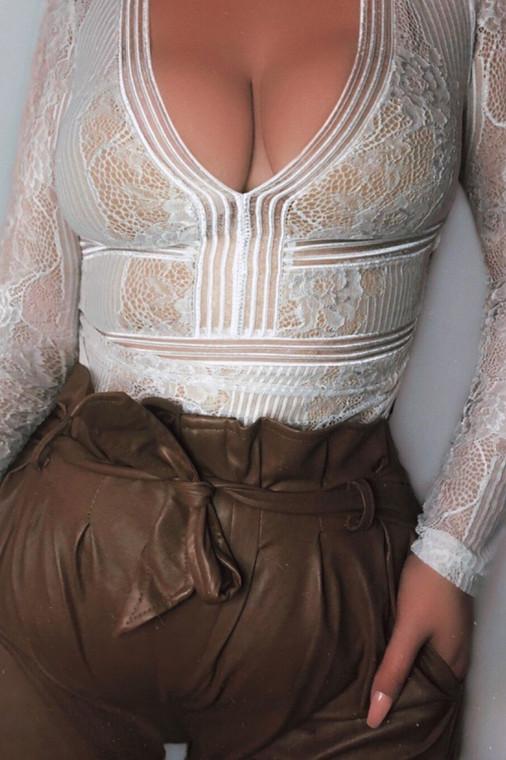 White Lace Open Back Bodysuit