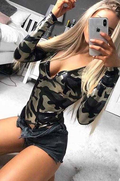 Camo Metallic Plunge Bodysuit