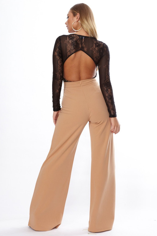 Nude High Waist Wide Leg Trouser
