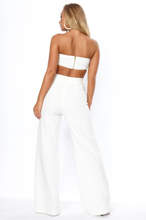 Cream High Waist Wide Leg Trouser