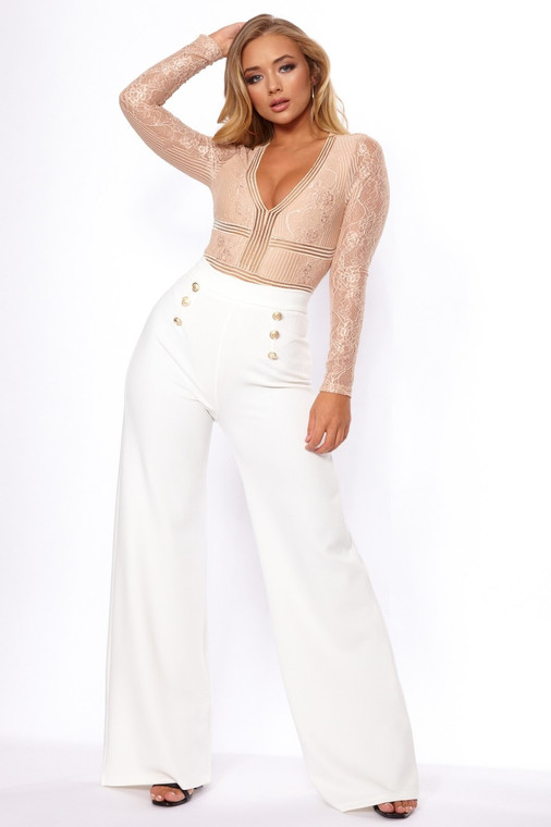 Cream Button Flare Trouser