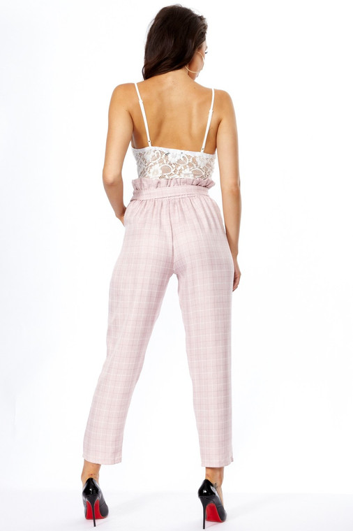Pink Check Paper Bag Trouser