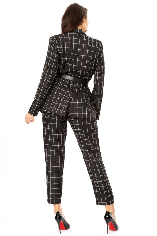 fashion check paper-bag trousers