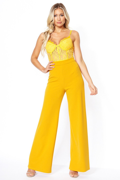 Mustard High Waist Wide Leg Trouser