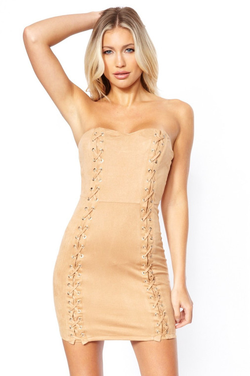 Tan Suede Lace Up Bodycon Dress