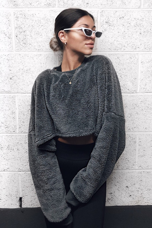 Charcoal Teddy Batwing Jumper