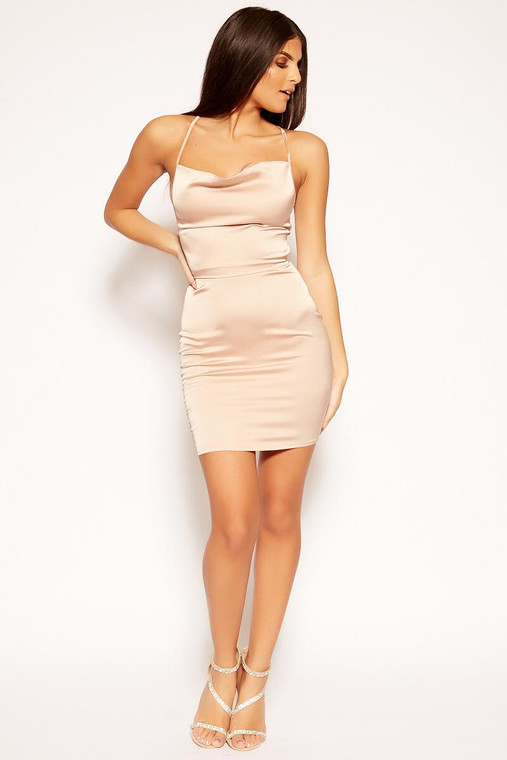 Nude Cowl Neck Satin Mini Dress