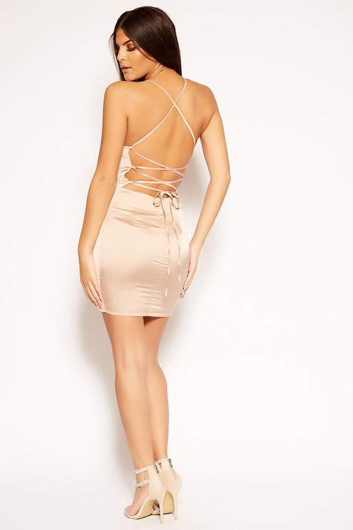 Nude Cowl Neck Satin Mini Dress