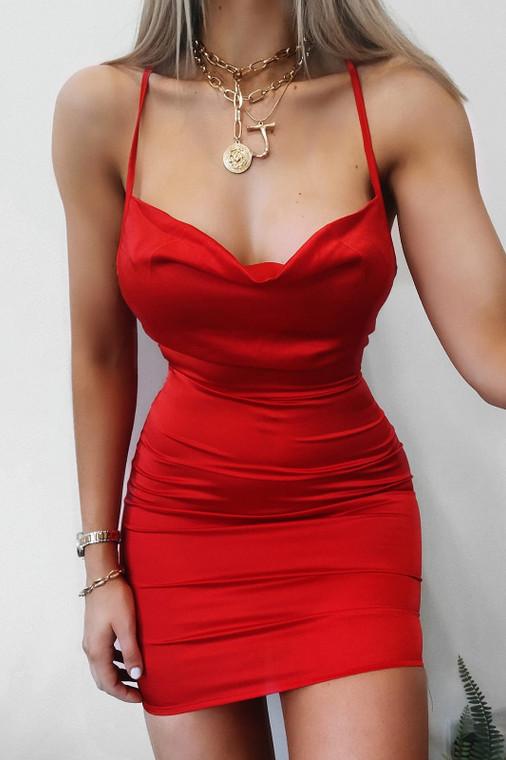 Red Cowl Neck Satin Mini Dress