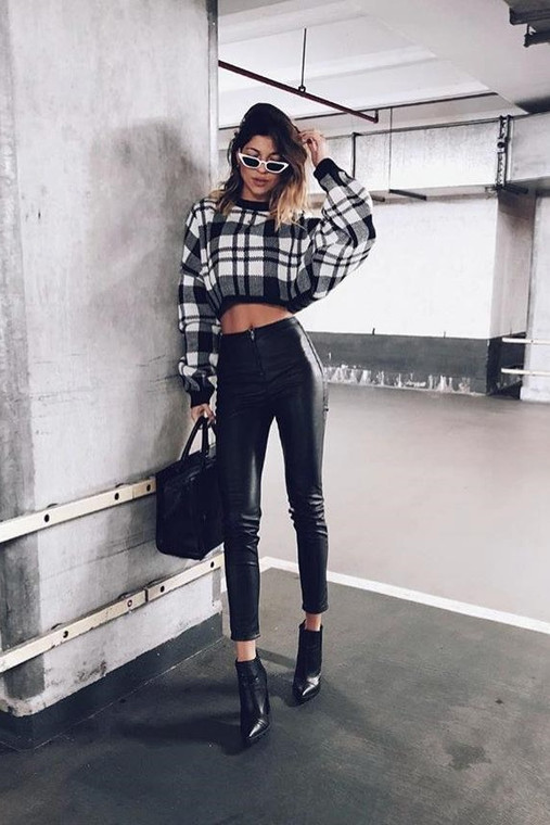 Black and white batwing Big Check Jumper