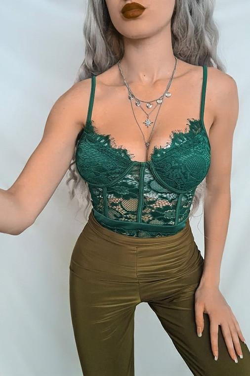 Emerald Lace Flower Bodysuit