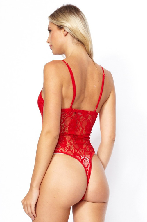 Red Lace Flower Bodysuit