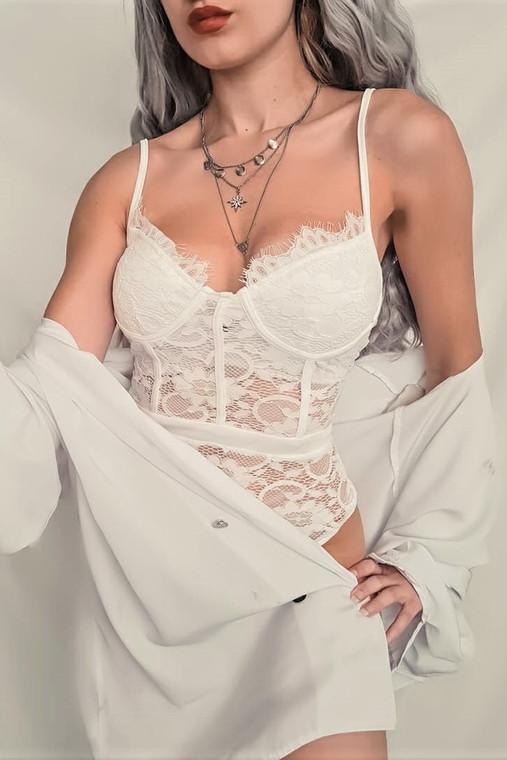 White Lace Flower Bodysuit
