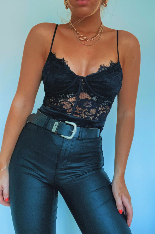 Black Lace Flower Bodysuit